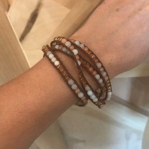 Jewelry - Leather beaded wrap bracelet